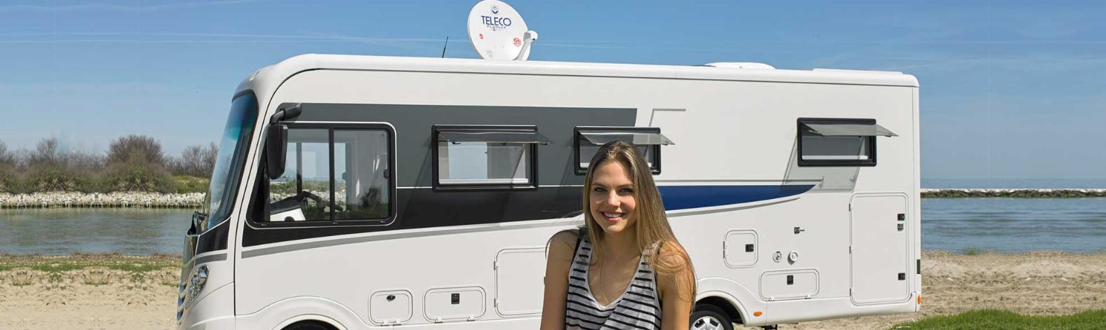 Satellietschotel Teleco voor campers bij IMT